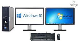 """Fast Dell Set Intel Trading Computer 2x 22"""" HD LCD Monitors 8GB 500GB Win 10 Pro"""