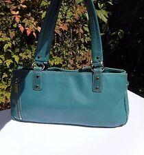 PERLINA Women's Teal Genuine Leather  Handbag