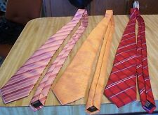 "3 Vitali K Microfiber Neck Ties;Pink, Orange, Red Striped Patterns;3.2-3.5""W;T18"