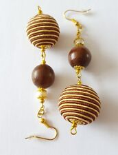 New Handmade Wood Gold Glass Pearl and Brown Round Stripe Beaded Dangle Earrings