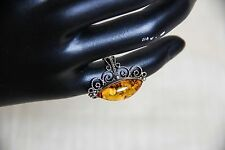 Marquise Cut Genuine Amber Ring with Intricate Design 1.25'' Long Size 4.5-5
