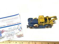 "Vintage Rare Yellow & Blue Cast Iron Wrecker Tow Truck 6"" Arcade A.C. Williams"