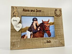 Horse Name / Date   Engraved Personalised Photo Driftwood Frame   Horse Rider