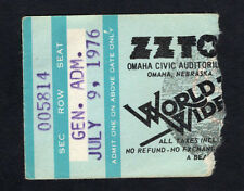 1976 Zz Top Concert Ticket Stub Omaha Nebraska World Wide Texas Tour Tejas