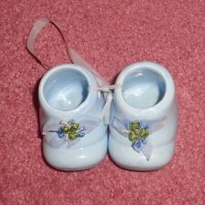 Baby Shoes Ceramic Blue - In Excellent Condition - No Chips Or Damages