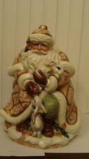 "1996 Fitz & Floyd Snowy Woods Santa Large Cookie Jar Bunny/Rabbit 10.5"" tall"