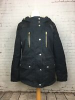 Topshop Women's Petite Black Faux Fur Hooded Jacket Size 8