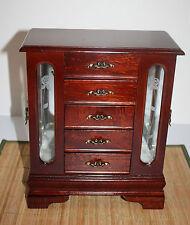 "Cherry Wood Jewelry Box Side Glass Doors with Hooks 5 Drawers 11 x 5 x 13""H"