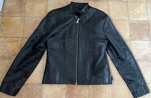 Jasper Conran Ladies Black Leather Jacket, Size S, Very Good Condition