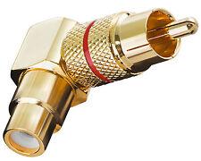 2 Stück Adapter Cinch RCA Winkeladapter Chinch Winkel Stecker rot Gold Metall