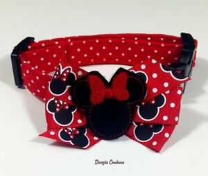 Red Dots Mouse Ears Dog Collar With Bow Size XS-L by Doogie Couture