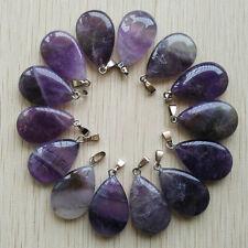 2017 New natural amethyst stone water drop charms pendants 30pcs/lot wholesale