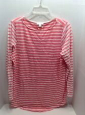 J Jill 100% Cotton Long Sleeve Scoop Neck Pink and White Striped Top Size M