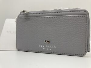TED BAKER grey  Lotta Bow Card Holder leather new with tags