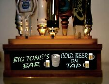 (MULTICOLOR LED) 7 BEER TAP HANDLE DISPLAY PERSONALIZED WITH NEON STYLE FONT