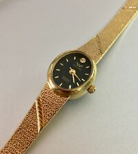 Vintage Waltham Ladies Gold Diamond Watch Mesh Band Oval Black Face**Mint cond**