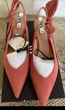 New Zara Women Slingback Kitten Heels 👠 Shoes Bow Pink Pointed Toe Size 8