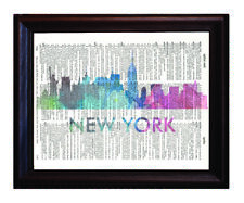 New York Love Your City Watercolor Skyline Dictionary Art Print Printed On