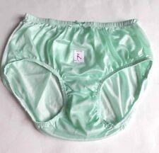 Vintage Green Soft Nylon Satin Size L Knickers Panty Briefs Men Women Underwear