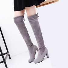 Sexy Women Stretch Faux Thigh High Boots Over The Knee Boots High Heels Shoes