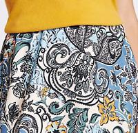 M&S Ladies Skirt Blue Mix Paisley Crepe Pull On Aline BNWT Marks Classic