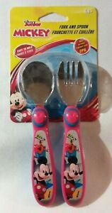Disney Mickey Mouse spoon & fork flatware set easy grip handles TOMY