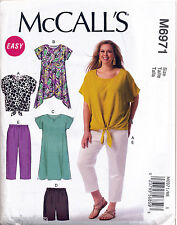 MCCALL'S SEWING PATTERN 6971 WOMENS 18W-24W TOP TUNIC DRESS PANTS IN PLUS SIZES