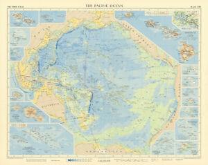 Pacific Ocean & islands. Hawaii Polynesia Tahiti. TIMES 1957 old vintage map