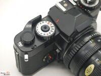 SLR Kamera Revueflex (PK-Bajonett) Objektiv Exakta 35-70 Zoom 1:3,5-4,5 MC Macro