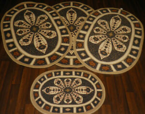 ROMANY GYPSY WASHABLE CROWN DBY FULL SET OF 4  MATS-RUGS NON SLIP TOURER SIZE X