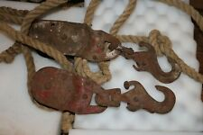 Vintage Large Metal Block and Tackle on Rope