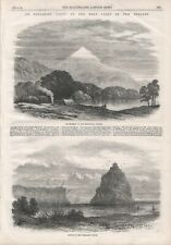 OLD ANTIQUE 1865 PRINT AN EXPLORING PARTY ON THE WEST COAST OF NEW ZEALAND B170