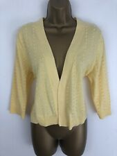 Tu Cardigan Yellow Spotted Cotton Short 3/4 Sleeve Open Front Size 16