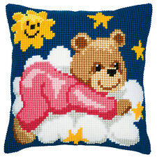Vervaco Cross Stitch Cushion Front Kit: PN-0008574 Pink Teddy
