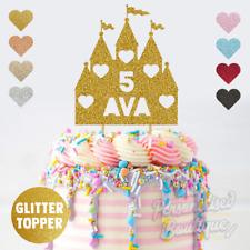 Personalised Custom Glitter Cake Topper, Princess Castle Girls Birthday Party
