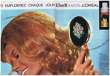 PUBLICITE ADVERTISING 105  1963  L'OREAL  laque ELNETT SATIN  (2pages)