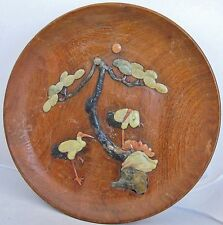 "11.5"" Chinese Wood Charger Plate w/ Carved Soapstone Scene of Crane Birds & Tree"