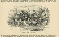 ANTIQUE NEWPORT RHODE ISLAND MANSION HOUSE RESIDENCE OF COLONEL WARING PRINT
