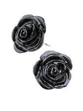 Black Rose Pair of Stud Earrings. Pewter Jewellery by Alchemy Gothic of England