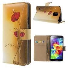 Schutz Tasche Hülle Flip Cover Case für Samsung Galaxy S5 BLUME GELB LOVE 84E