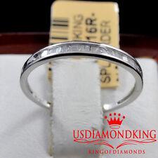 LADIES WOMEN 10K WHITE GOLD GENUINE BAGUETTE DIAMOND WEDDING ENGAGMENT BAND RING