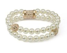 GORGEOUS 18K ROSE GOLD PLATED & GENUINE AUSTRIAN CRYSTAL & WHITE PEARL BRACELET