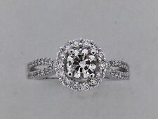 Halo Engagement Ring with Natural Diamond Solid 14kt White Gold