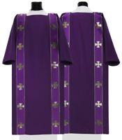 """Purple Gothic Dalmatic with stole """"Maltese Crosses"""" D104-F Vestment Dalmática"""