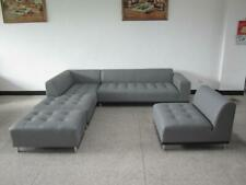 Modern contemporary design gray Leather Sectional Sofa + chaise 2 PC set #1707