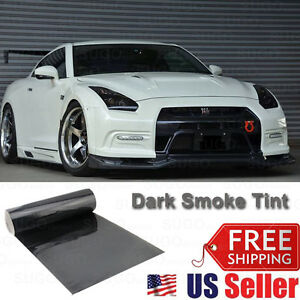 "12""x84"" Gloss Dark Black Smoke Tint Film Lens Vinyl Wrap Taillight Headlight"