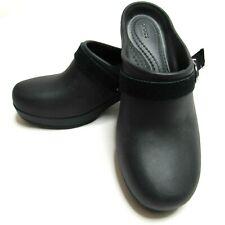 Crocs Dual Comfort Womens Sz 5 Sarah Heeled Mule Clogs Black Suede Strap Buckle
