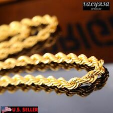 VALYRIA 22'' Men's Women's Stainless Steel Rope Chain Necklace Gold 4mm Wide