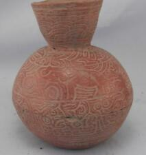 Antique Mayan Pre Columbian Pottery~Incised Red Vessel~Image of An Elephant!