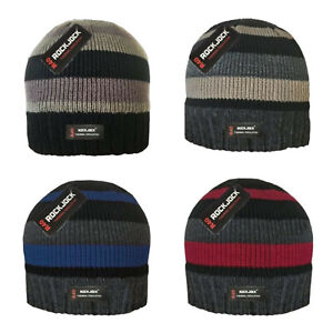 Mens R40 Advanced Thermal Insulated Polar Fleece Lined Striped Beanie Hats